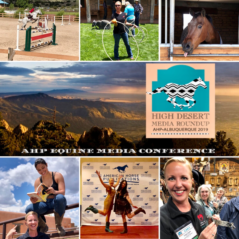 Author Carly Kade at the annual American Horse Publications Conference in Albuquerque, New Mexico! Over the course of three days, I took a roping lesson (and roped my own face), found a pair of custom spurs with my name of them, and spent time learning from and networking with incredible equine creatives!