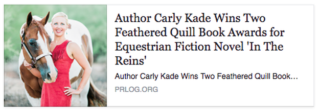 Author Carly Kade Wins Two Feathered Quill Book Awards for Equestrian Fiction Novel In The Reins