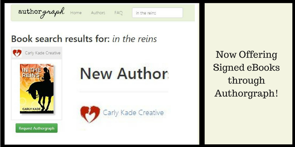 Get your In the Reins eBook by Carly Kade signed on Authorgraph