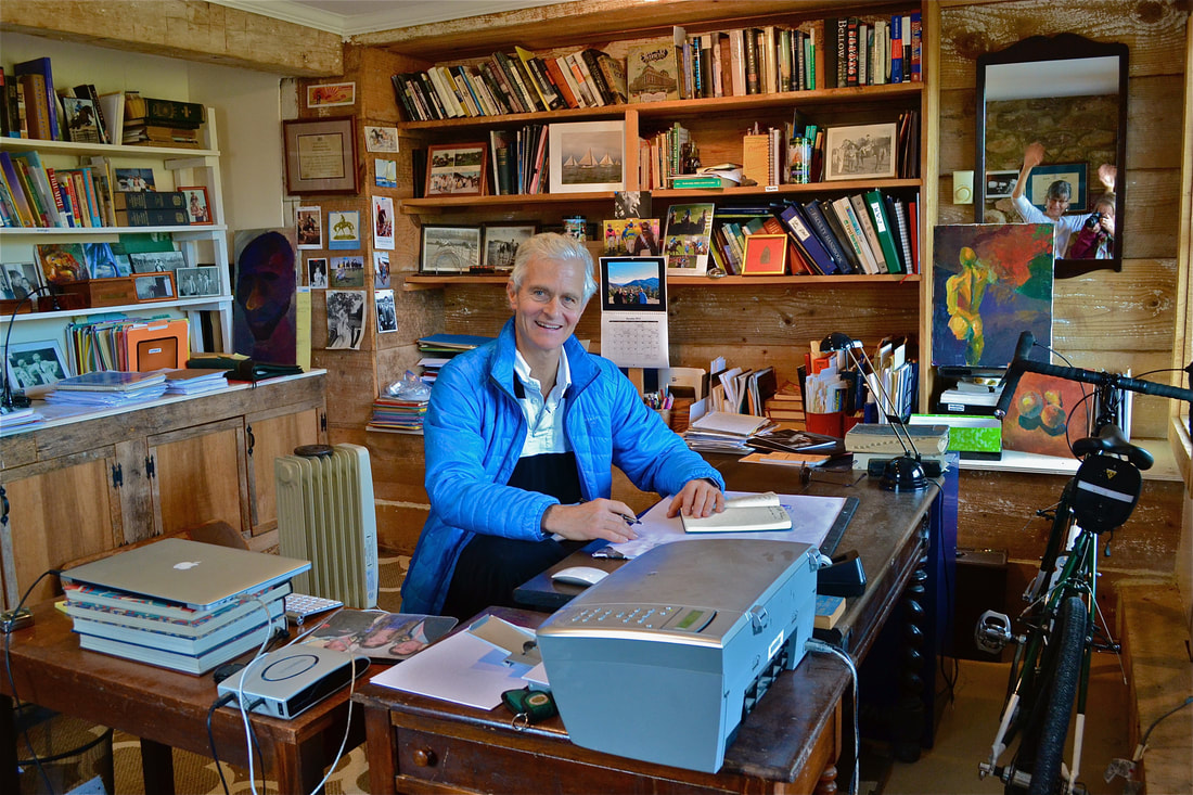 Patrick Smithwick in his writing barn