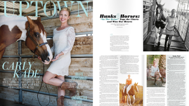 Equestrian Fiction Author Carly Kade on the cover of Uptown Magazine