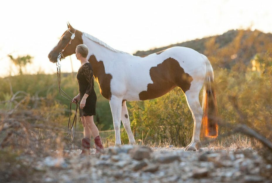 Author Carly Kade and her Paint Horse