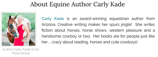 Carly Kade. Author of the In the Reins Horse Book Series